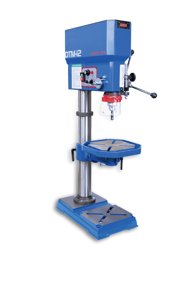blue color drilling and tapping machine with prints says DTM-12